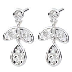 Boucles d'oreilles Hesmé - 10 diamants - or blanc 9 carats