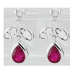 Boucles d'oreilles Hesmé - rubis et diamants - or blanc 9 carats