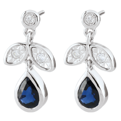 Boucles d'oreilles Hesmé - saphirs et diamants - or blanc 9 carats