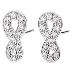 Boucles d'oreilles Infini - or blanc 9 carats et diamants
