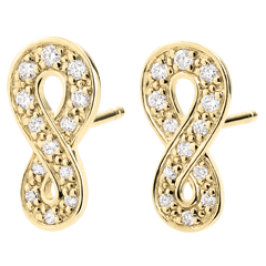 Boucles d'oreilles Infini - or jaune 9 carats et diamants