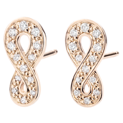 Boucles d'oreilles Infini - or rose 9 carats et diamants