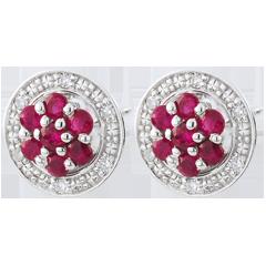 Boucles d'oreilles Isalia - rubis - or blanc 9 carats