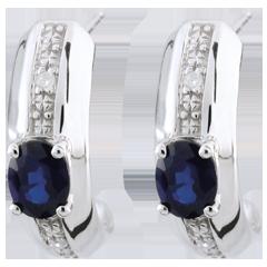 Boucles d'oreilles Jalouse - saphirs - or blanc 9 carats