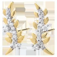 Boucles d'oreilles Jardin Enchanté - Feuillage Royal - or jaune et diamants - 9 carats
