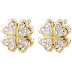 Boucles d'oreilles Ma chance - diamants - or blanc et or jaune 9 carats