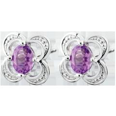 Boucles d'oreilles Mini Flora - améthyste - or blanc 9 carats