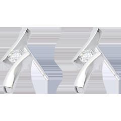 Boucles d'oreilles Nid Précieux - Apostrophe diamants - or blanc 18 carats