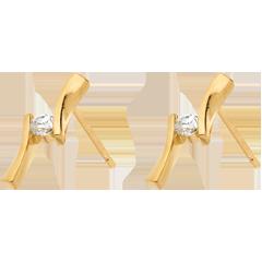 Boucles d'oreilles Nid Précieux - Apostrophe diamants - or jaune 18 carats - 0.1 carat