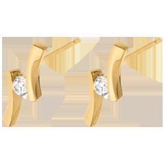 Boucles d'oreilles Nid Précieux - Apostrophe diamants - or jaune 18 carats - 0.14 carat
