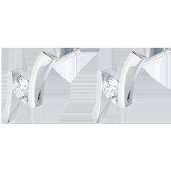 Boucles d'oreilles Nid Précieux - Apostrophe (TGM) - or blanc - 0.31 carat - 18 carats