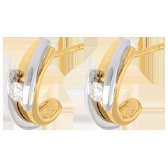 Boucles d'oreilles Nid Précieux - Bipolaire - orjaune et or blanc - 18 carats