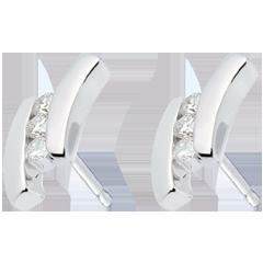 Boucles d'oreilles Nid Précieux - Citation - or blanc - 6 diamants - 18 carats