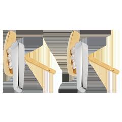 Boucles d'oreilles Nid Précieux - Parenthèses - deux ors - or blanc et or jaune 18 carats