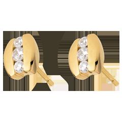 Boucles d'oreilles Nid Précieux - Trilogie parenthèse - or jaune - 0.23 carat - 6 diamants - 18 carats