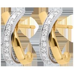 Boucles d'oreilles Noeuds tandem paves 22 diamants - or blanc et or jaune 18 carats