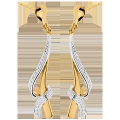 Boucles d'oreilles nouées or jaune pavées