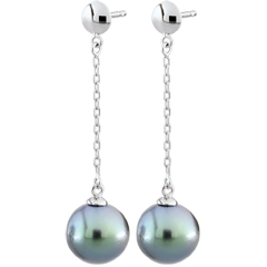 Boucles d'oreilles - or blanc 9 carats