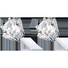Boucles d'oreilles or blanc - diamant 6 griffes - - 2 carats