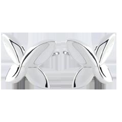 Boucles d'oreilles Papillon Origami - or blanc 9 carats