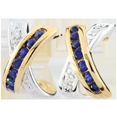 Boucles d'oreilles Parma - deux ors - or blanc et or jaune 9 carats