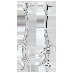 Boucles d'oreilles pendantes Bois Mystérieux - or blanc et diamants navettes - 9 carats