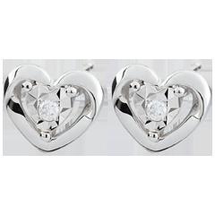 Boucles d'oreilles Petits coeurs - or blanc