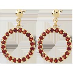 Boucles d'oreilles Roseline - grenats - or jaune 9 carats