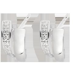 Boucles d'oreilles sagesse or blanc diamants