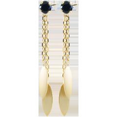 Boucles d'oreilles Sakari - saphirs - or jaune 9 carats