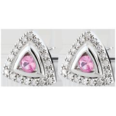 Boucles d'oreilles Salma - saphirs roses - or blanc 9 carats