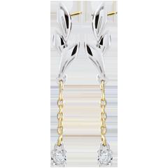 Boucles d'oreilles Souffle léger - deux ors - or blanc et or jaune 18 carats