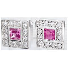 Boucles d'oreilles Suki Rose - saphirs roses - or blanc 9 carats