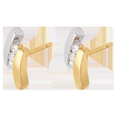Boucles d'oreilles trilogie Nid Précieux - Citation - 6 diamants - or blanc et or jaune 18 carats