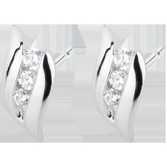 Boucles d'oreilles Trilogie Nid Précieux - Romance - or blanc diamants - 18 carats