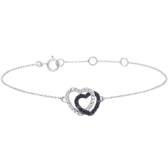 Bracciale Cuori Complici - Oro Bianco - 9 carati - Diamanti Bianchi e Diamanti Neri