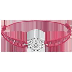 Bracciale Fior di Sale - Cerchio - Oro bianco - 9 carati -Diamanti - Cordoncino rosso