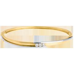 Bracciale rigido Trilogy Bipolare - Oro giallo e Oro bianco - 3 Diamanti - 0.24 carati