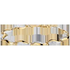 Bracciale Treccia - Oro giallo e Oro bianco - 18 carati - 22 Diamanti