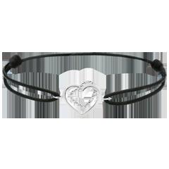 Braccialetto Cuori Abbracciati - Oro Bianco - 9 carati - Diamanti - Cordoncino nero