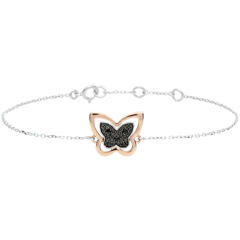 Bracelet Balade Imaginaire - Papillon Lunaire - or rose et diamants noirs - 9 carats