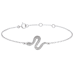 Bracelet Balade Imaginaire - Serpent Envoutant - or blanc 9 carats et diamants
