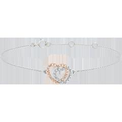 Bracelet Coeurs Complices - or blanc et or rose 9 carats et diamants