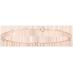 Bracelet Eclosion - Couronne de Roses - diamants - or rose 9 carats