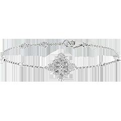 Bracelet Fraicheur - Fleur - or blanc 9 carats et diamants