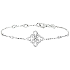 Bracelet Freshness - Flower - white gold 9 carats and diamonds