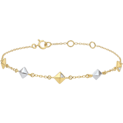 Bracelet Genesis - Rough diamonds - two golds - five motives