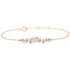 Bracelet Jardin Enchanté - Feuillage Royal - or rose et diamants - 9 carats