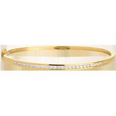 Bracelet Jonc barrette 25 diamants - 0.75 carats - 25 diamants - or jaune 18 carats