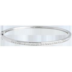 Bracelet Jonc barrette - or blanc 18 carats - 0.75 carats - 25 diamants